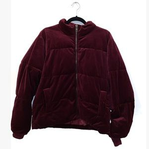 Bordeaux Velvet Puffer Jacket